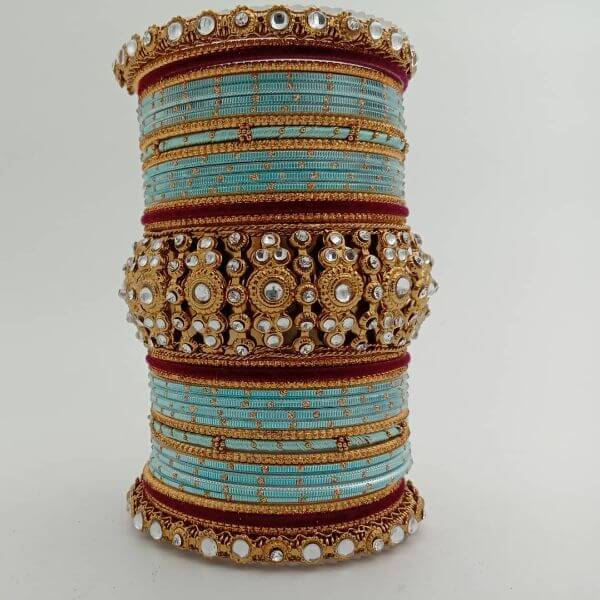Turquoise blue beautiful Indian bangles Trendy Bangle Designs for Indian Brides to Make Your Wedding Memorable