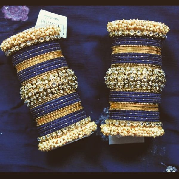 Navy blue glass bangles with kadas Trendy Bangle Designs for Indian Brides to Make Your Wedding Memorable