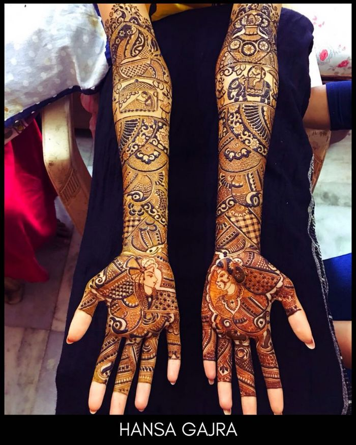 Bride and bridegroom depiction mehndi art Bridal Mehndi Designs for Full Hands