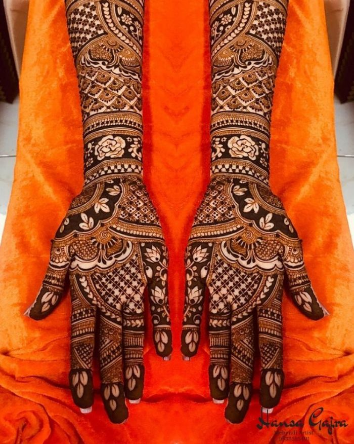 Fuller, panelled bridal mehndi design Bridal Mehndi Designs for Full Hands