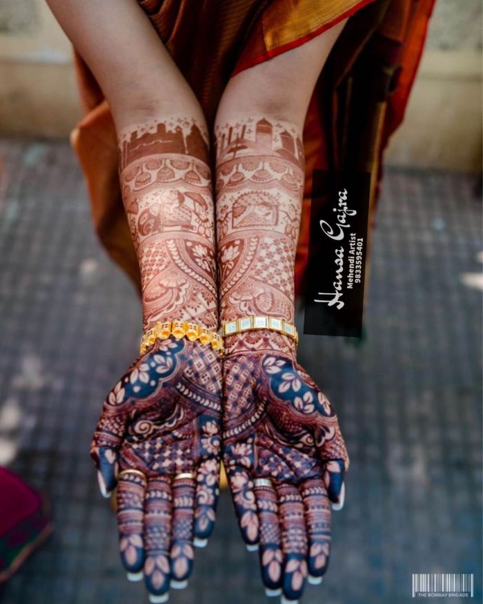 Dark & unique bridal mehndi design for full hands Bridal Mehndi Designs for Full Hands