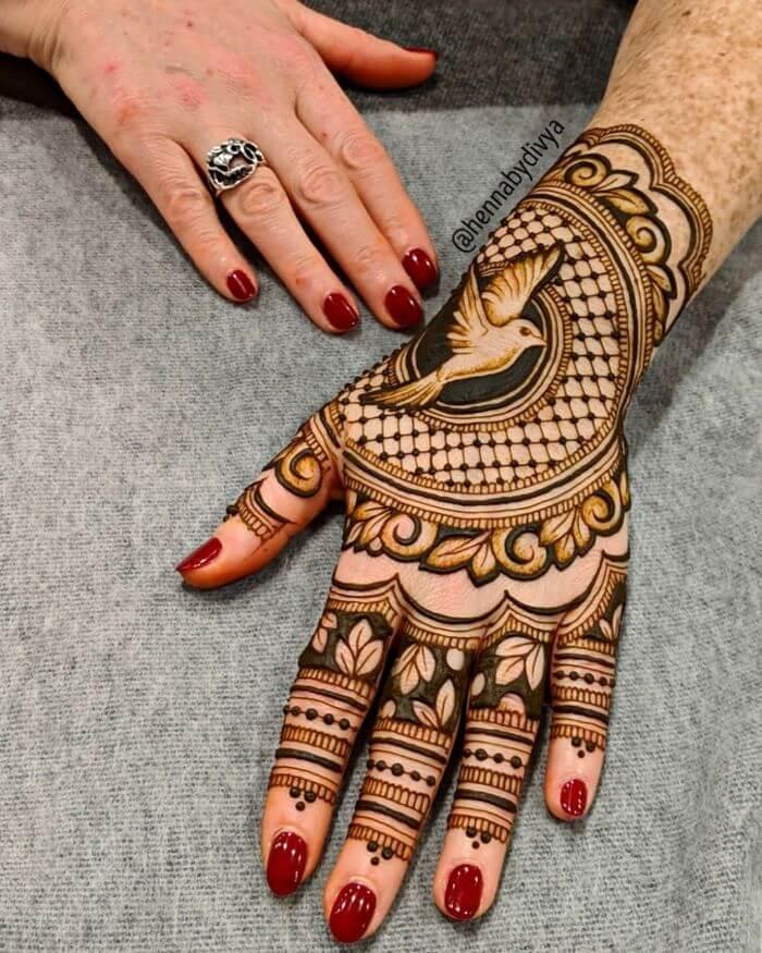 Henna Bird mehndi design for Teej festival celebrations