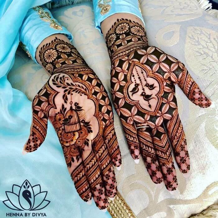 Bird henna mehendi design for teej festival celebrations Beautiful celebratory mehndi design