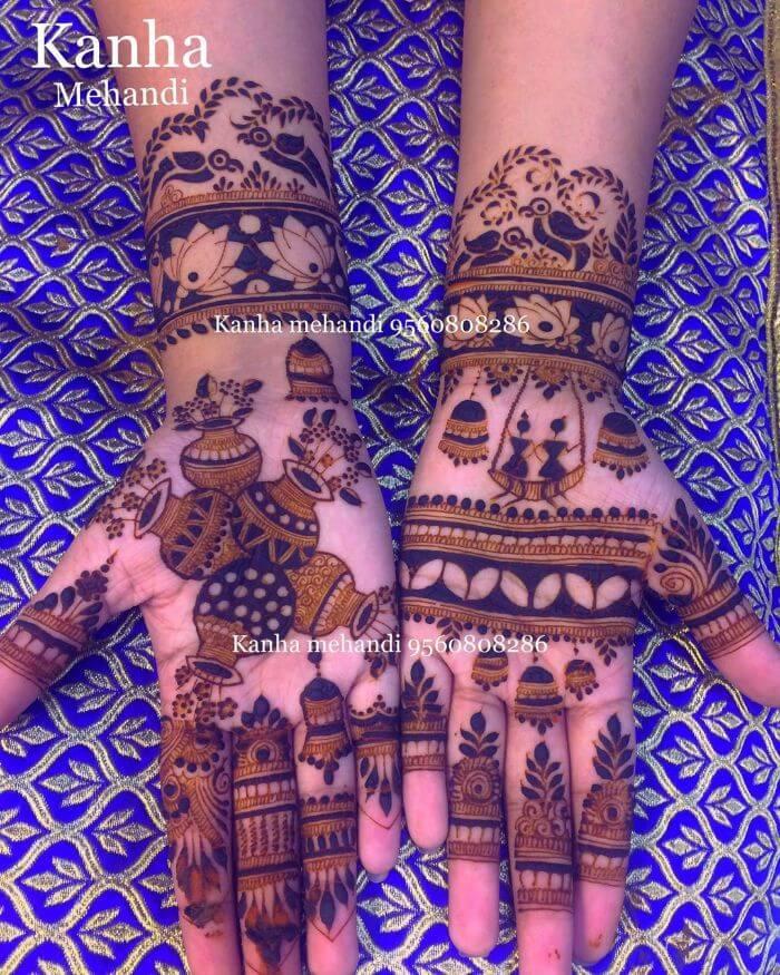 Unique kalash mehndi design for Teej Festival celebrations Beautiful celebratory mehndi design
