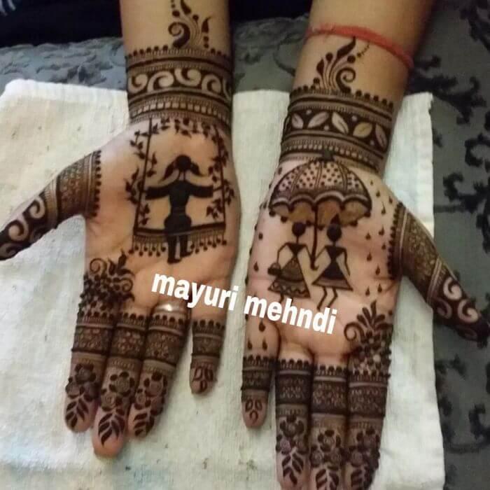 New Girls mehndi designs with umbrella for Teej Festival celebrations