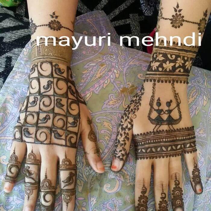 Easy henna mehandi designs for back hand for Teej festival celebrations