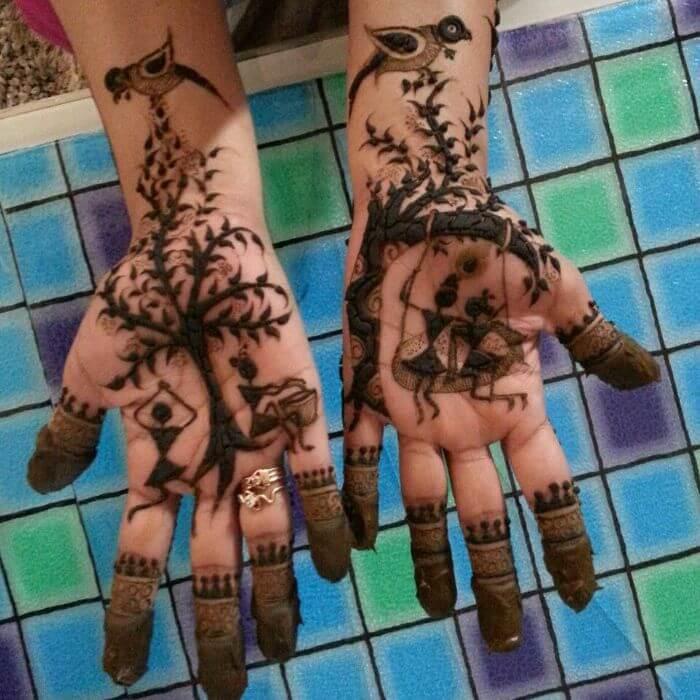 simple mehndi designs for Teej festival celebrations