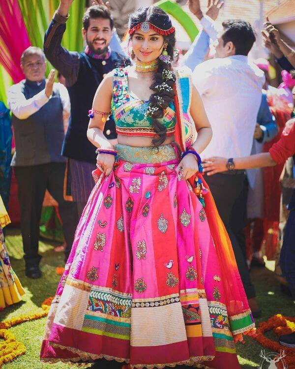 multi colour lehnga