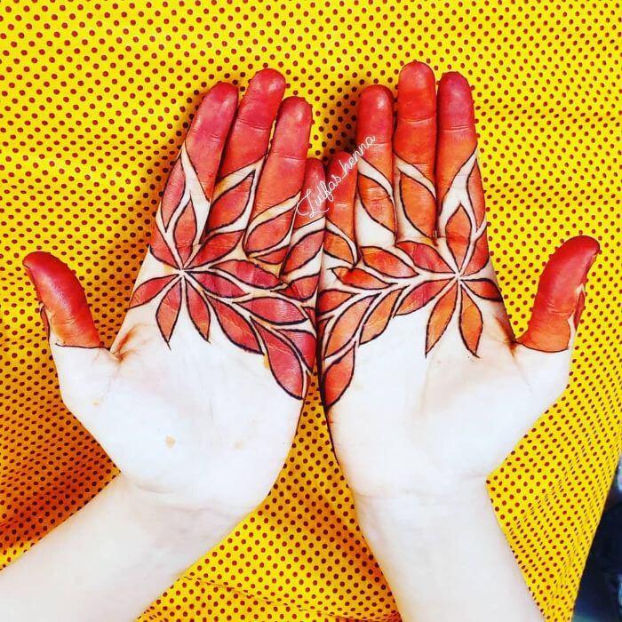 Leaf pattern mehndi design for front hands Beautiful Floral Mehndi Designs for Hands