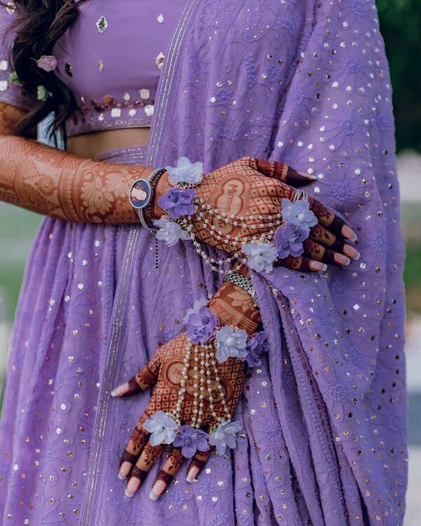 Lavender beauty floral hathphool jewellery Floral Hathphool Jewellery Designs for Weddings