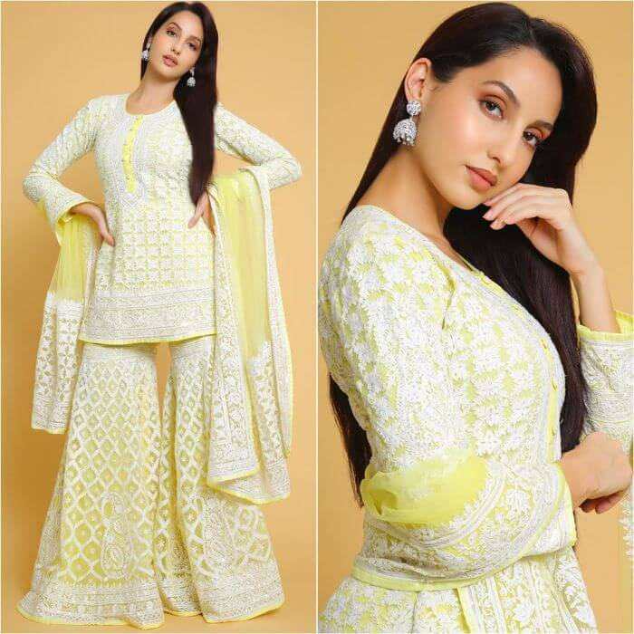 Nora Fatehi in White and cream designer sharara suit Designer Sharara Suits Inspo from Bollywood Actresses
