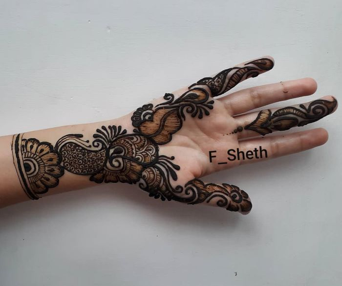 full hand shaded mehndi design