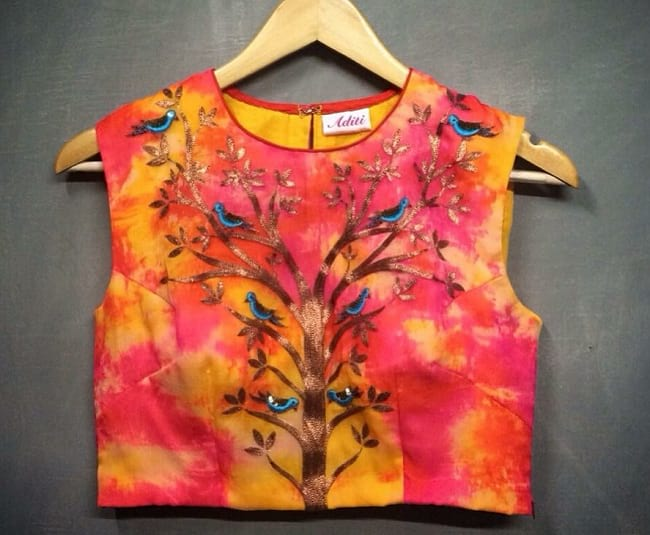Printed and embroidered designer blouse pattern Nature Inspired Blouse Patterns You will Love