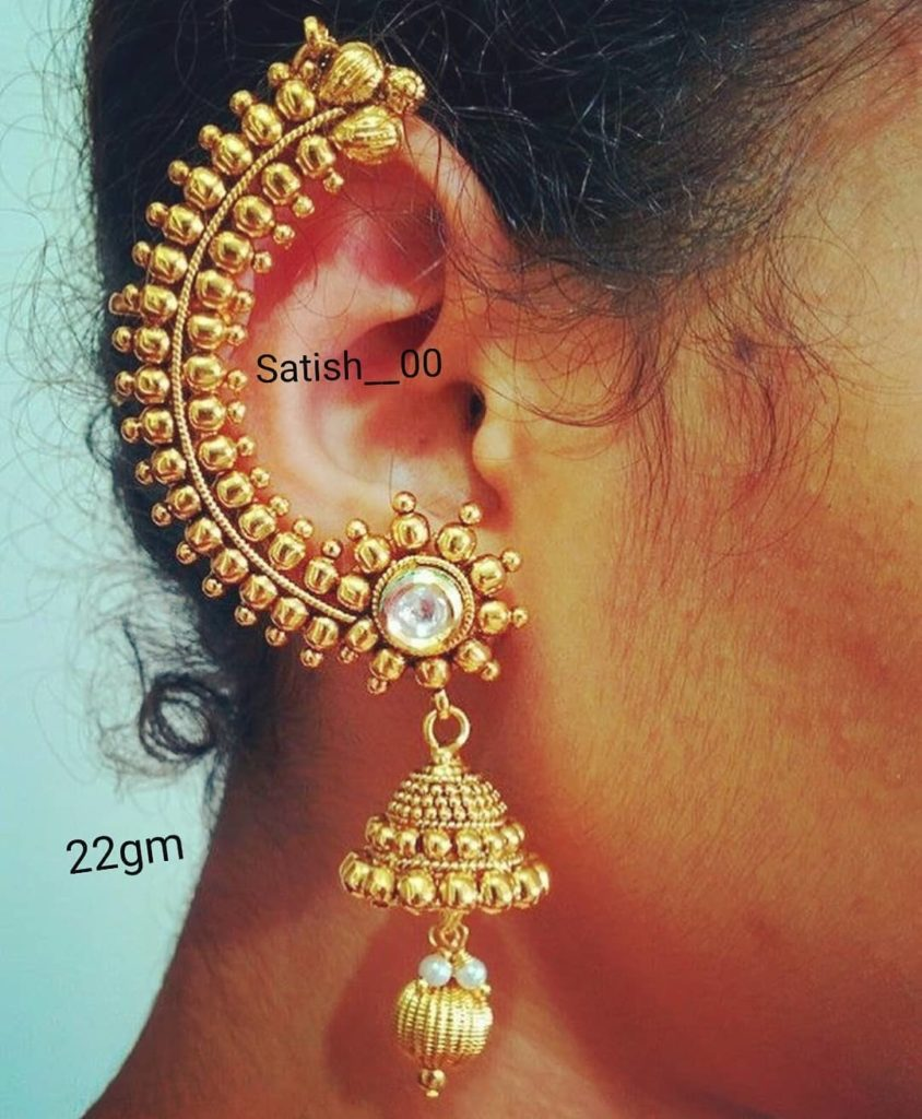 Big Cuff earrings: Gold Wedding Earring Designs You will Fall in Love Instantly