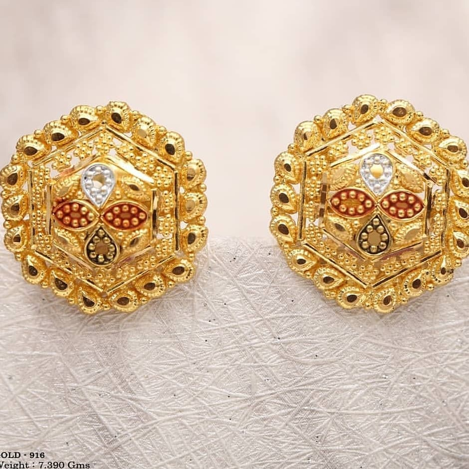 Oversized studs for bride Gold Wedding Earring Designs You will Fall in Love Instantly