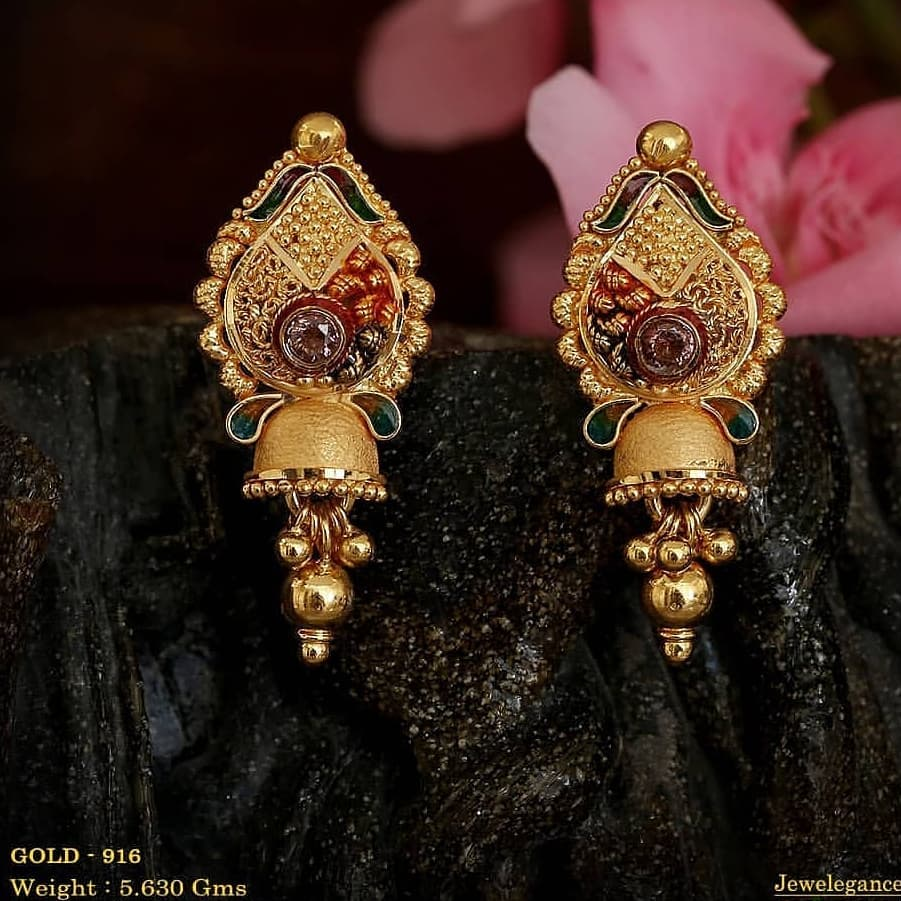 Traditional gold earrings in multi colors Gold Wedding Earring Designs You will Fall in Love Instantly