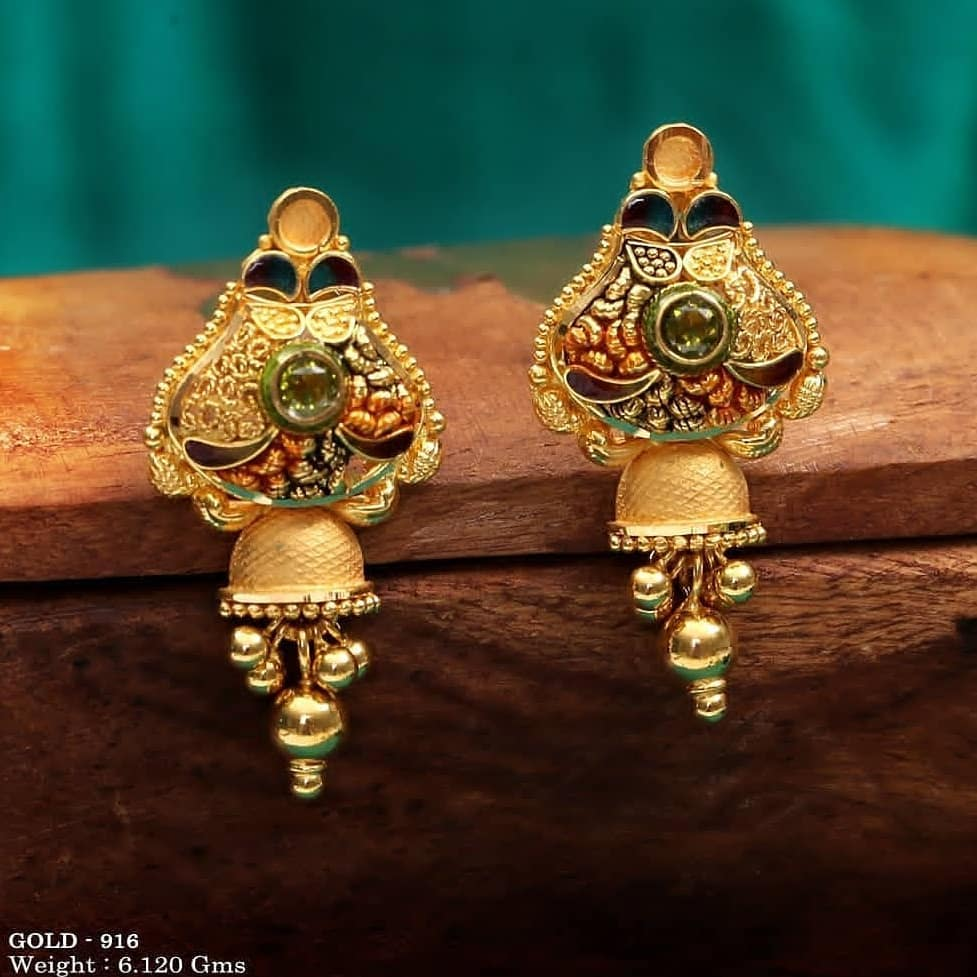 Gold beads drop earrings for women Gold Wedding Earring Designs You will Fall in Love Instantly