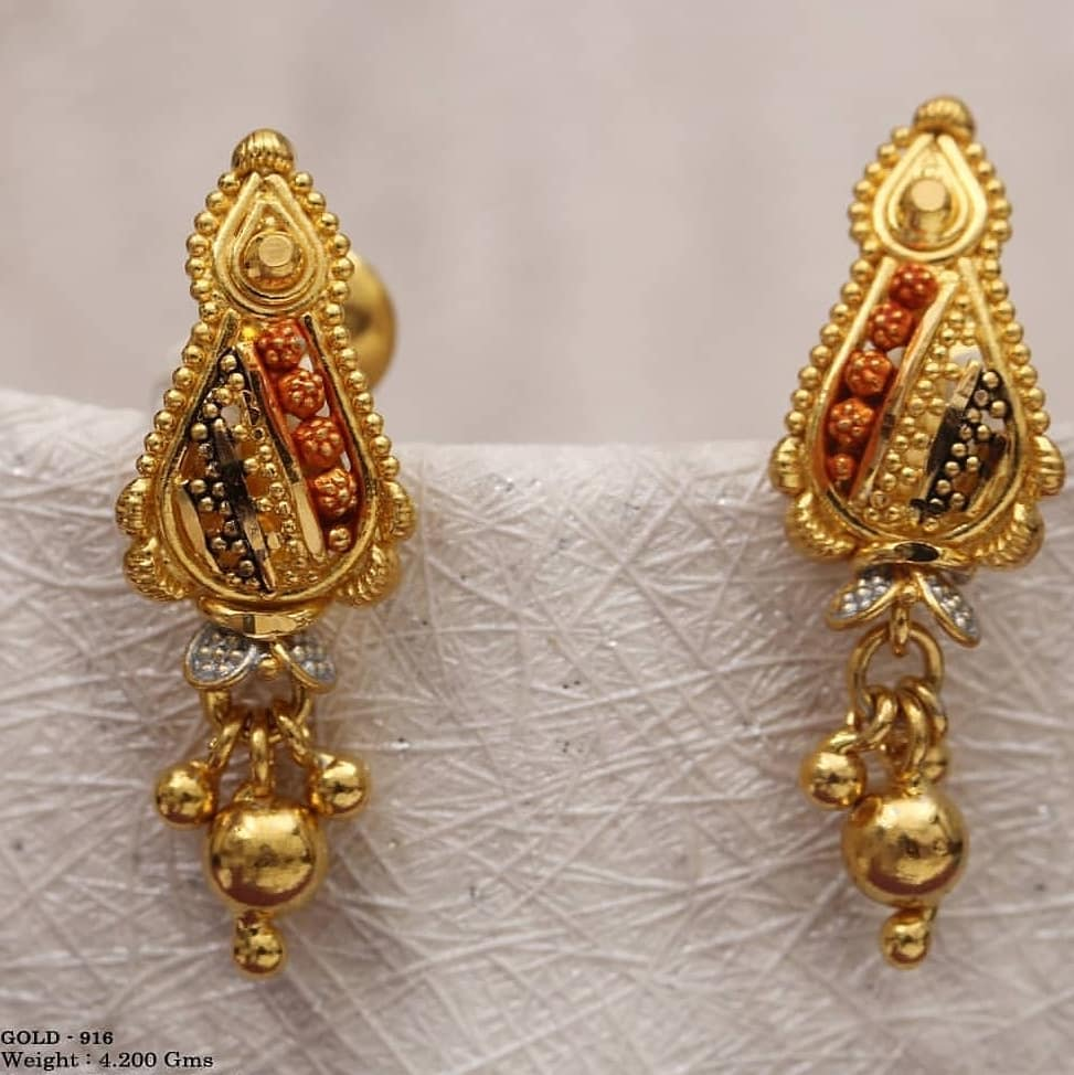 Gold with red and black designs Gold Wedding Earring Designs You will Fall in Love Instantly