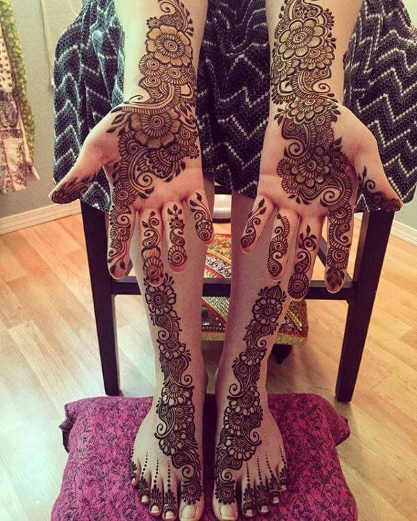 Simple Henna Mehndi Design for Legs Inspirations