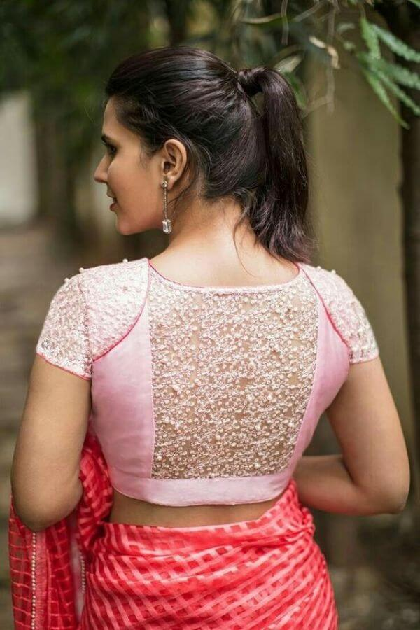 Lacy pink backside blouse design