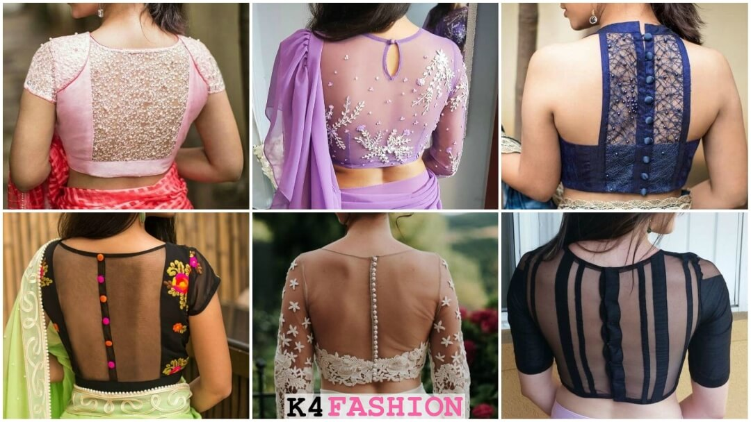 stylish Back Neck net blouse designs to wear with sarees or lehengas
