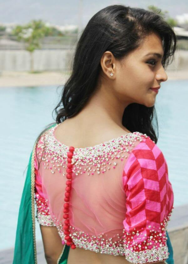 Beaded back side net blouse for modern girls