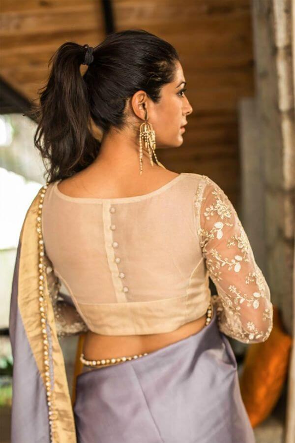 Simple white back neck design for Silk Saree