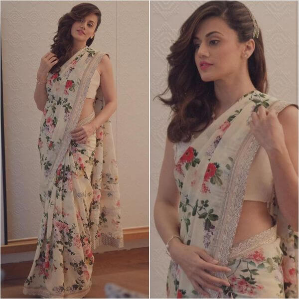 Taapsee Pannu in White floral printedSaree design