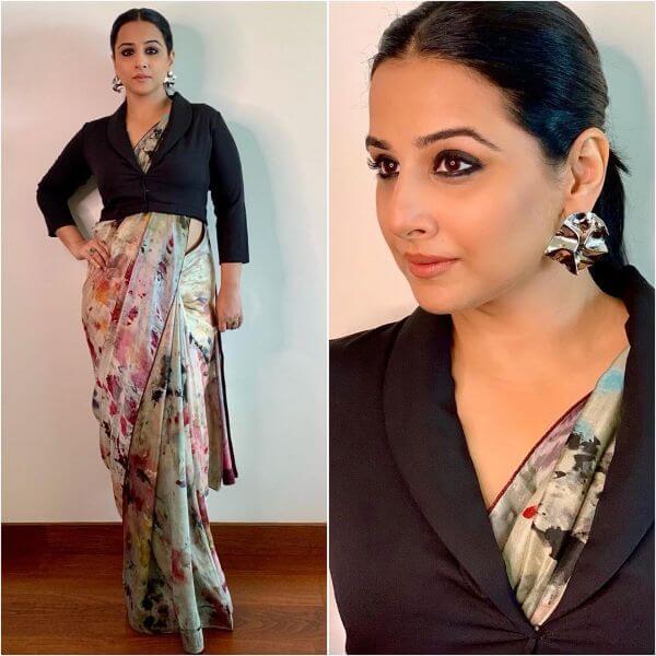 Vidya Balan jacket blouse with white saree design