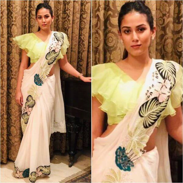 Mira Kapoor in Yellow frilled blouse with printed Saree