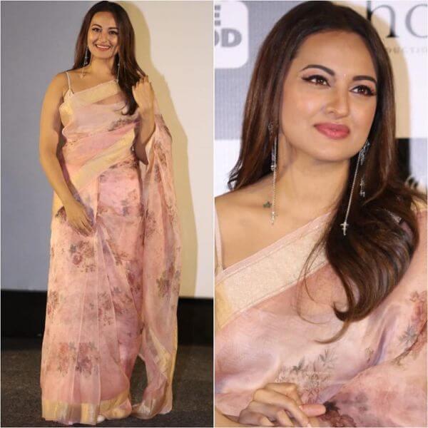 Sonakshi Sinha in Pink golden borderedSaree