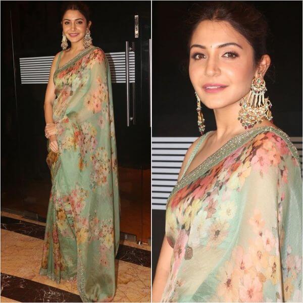 Anushka Sharma Green floral printSaree design