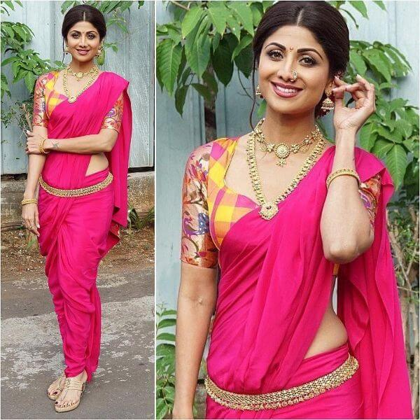 Shilpa Shetty with pink saree and multicolor blouse in Maharashtrian style