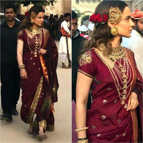 Kangana Ranaut was spotted wearing a maharashtrian kind of saree with a twist as she did not used pleats for her palla.
