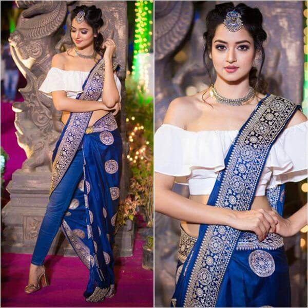 Shanvi Srivastava opted a traditional banarasi saree with a pair of jeans.