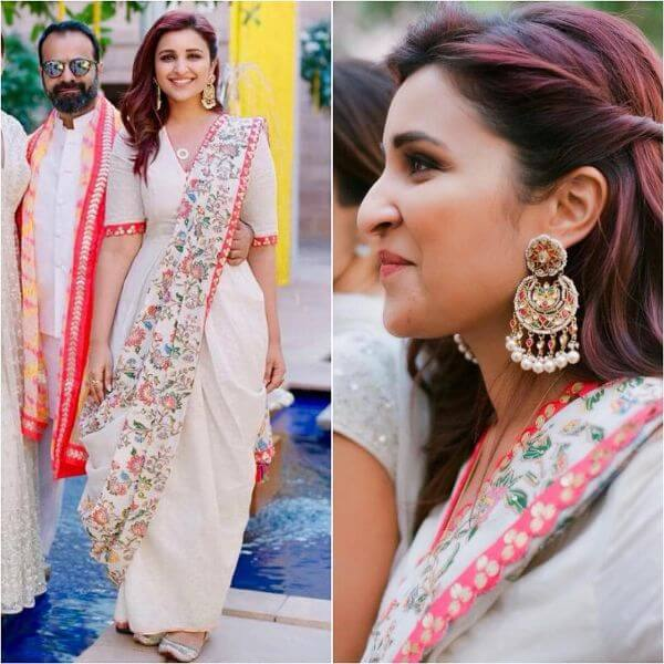 Parineeti Chopra white saree with floral print for any occasion