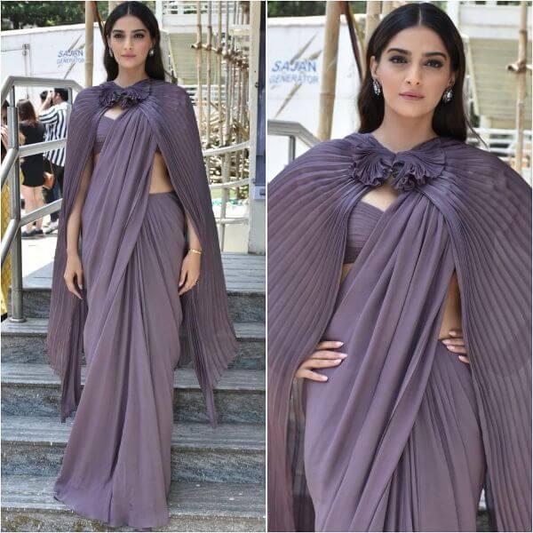 Sonam kapoor purple saree with frill jacket