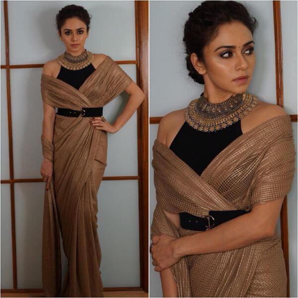 Amruta Khanvilkar brown saree with black blouse