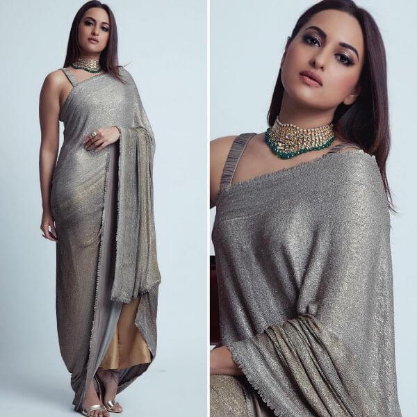 Sonkashi Sinha is wearing a silver blouse and a trousers and she paired it up with long dupatta
