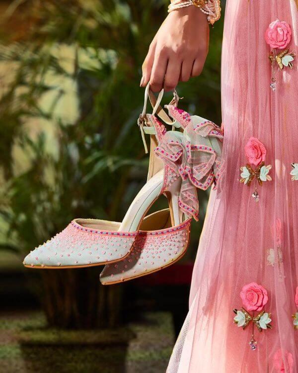 Baby Pink Bridal Stillettos with circle motifs - Bridal Footwear Ideas for Indian Wedding