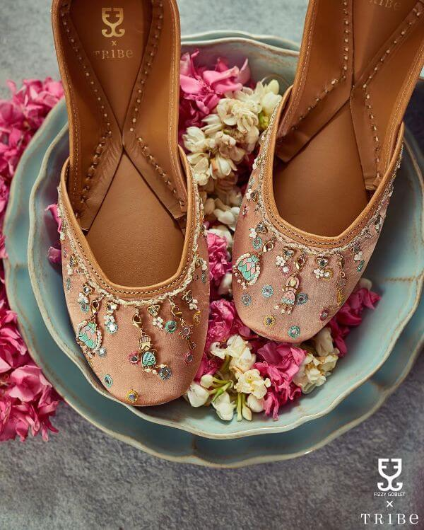 traditional punjabi juttis handcrafted with genuine leather & cushioned soles for indian brides
