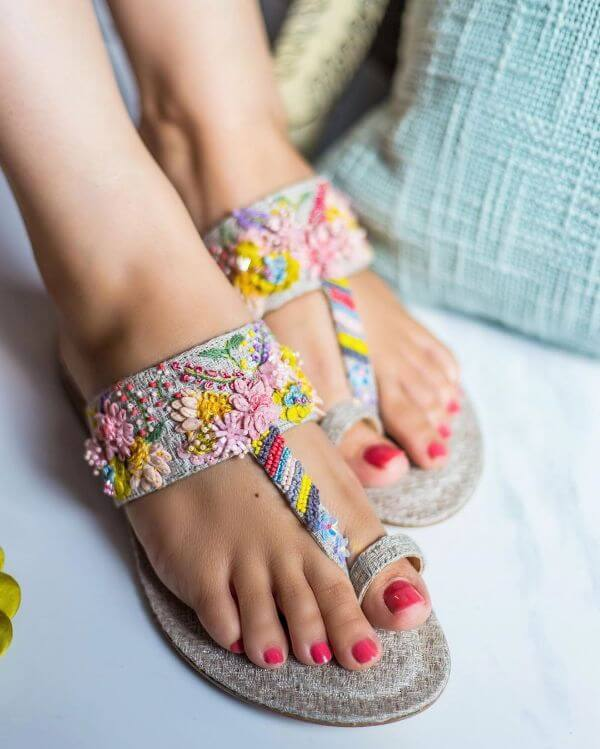 Colourful quirky Kolhapuris are meant for sundowners for summers Bridal Footwear Ideas for Indian Wedding