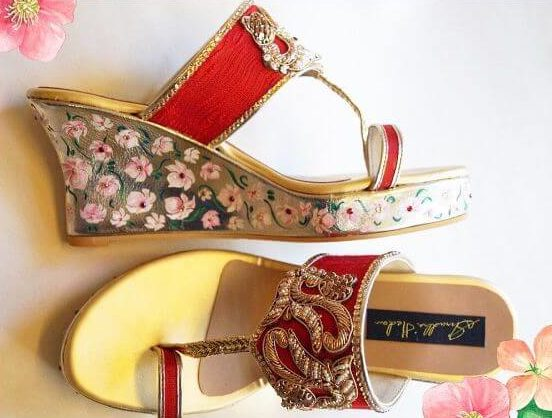 Very beautiful embroided elephants and doli made at the heel and the stone work on the strap footwear for gilrs