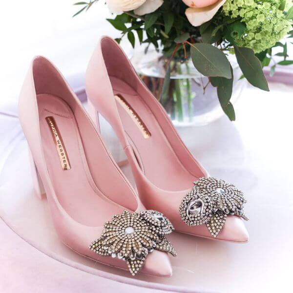 Pink pumps with silver stoned for indian bride
