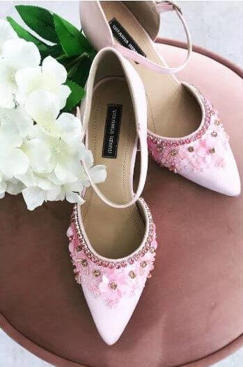 Pink stoned kitten heels for indian bride  - Bridal Footwear Ideas for Indian Wedding