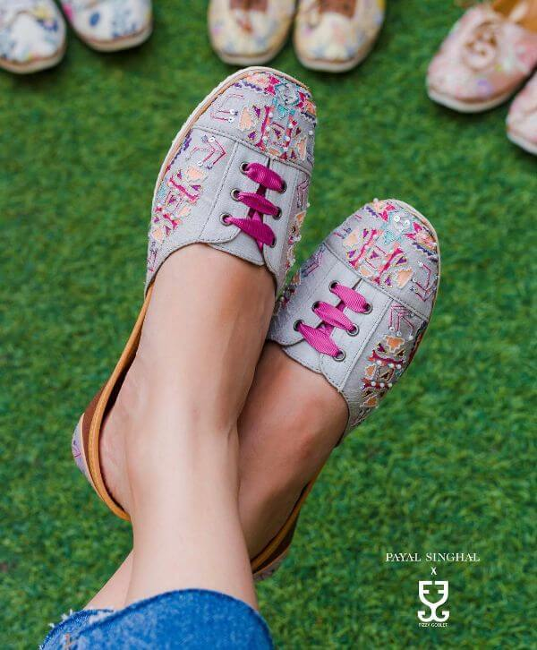 Blue printed, beading, embroideries sneakers for casual look - Bridal Footwear Ideas for Indian Wedding