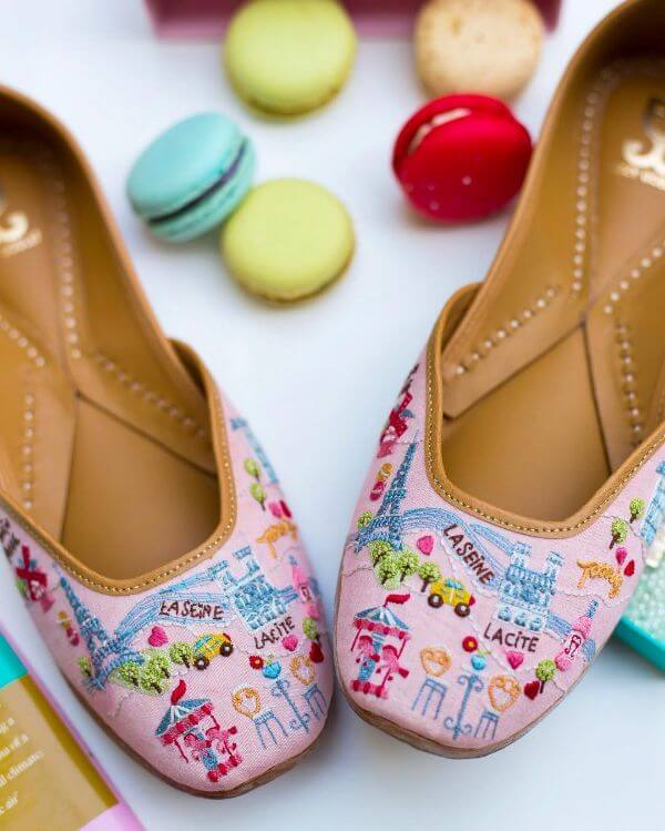 Women pink handmade embroidery shoes for women - Bridal Footwear Ideas for Indian Wedding