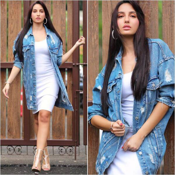 Nora Fatehi white plain dress with denim jacket for women