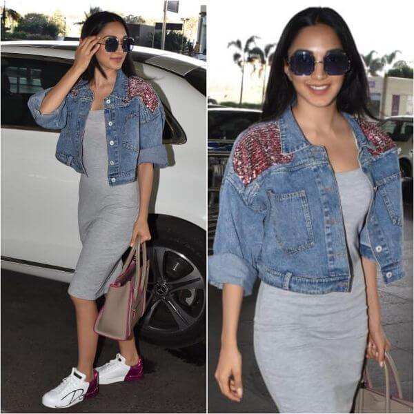 Kiara Advani was spotted in a Madison Onpeddar denim jacket which she teamed up with a dress