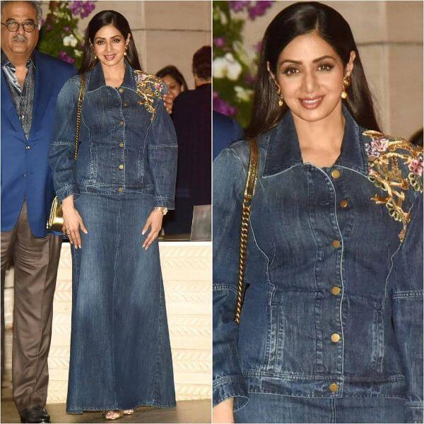 Sridevi was spotted wearing an all denim outfit by Alberta Ferretti
